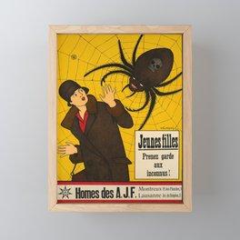 retro old jeunes filles prenez garde aux inconnus homes des poster Framed Mini Art Print