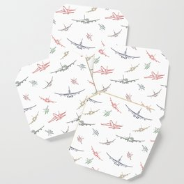 Colorful Plane Sketches Coaster