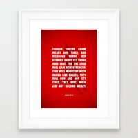 bible verses Framed Art Prints featuring Typographic Motivational Bible Verses - Isaiah 40:30 by The Wooden Tree