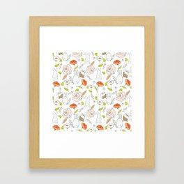 Spring blooming pattern Framed Art Print