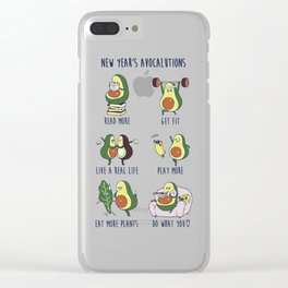 New Year's Resolutions with Avocado Clear iPhone Case