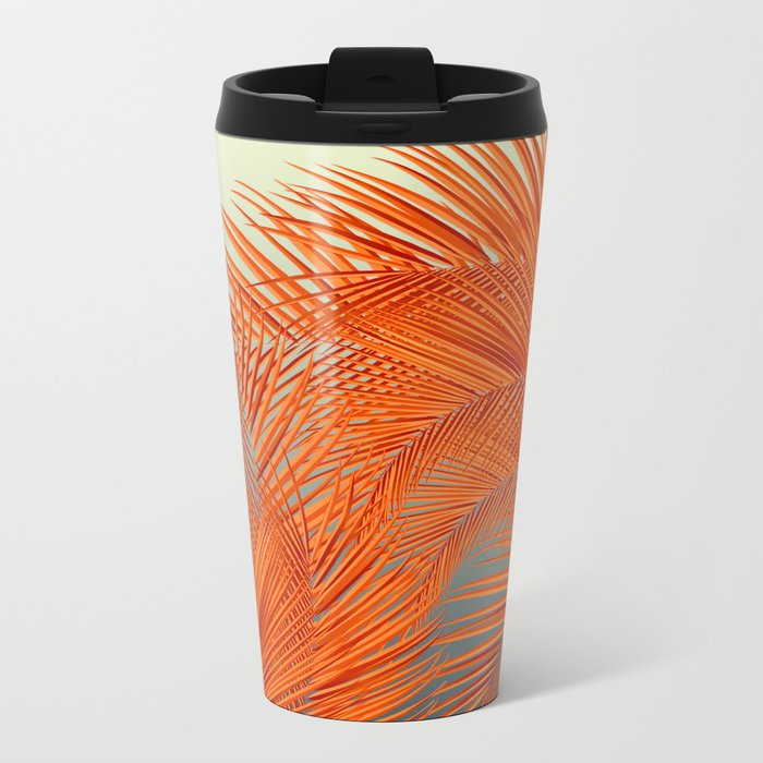 Palm Leaves, Orange Metal Travel Mug