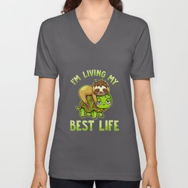Cute Sloth & Turtle I'm Living My Best Life Unisex V-Neck