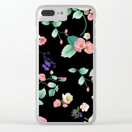 Roses and Violets Pattern Style Clear iPhone Case