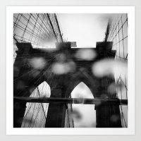 Brooklyn Bridge in the Rain Art Print