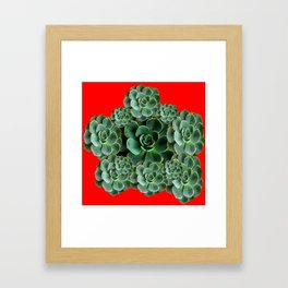 CHINESE  RED ART JADE GREEN SUCCULENTS Framed Art Print