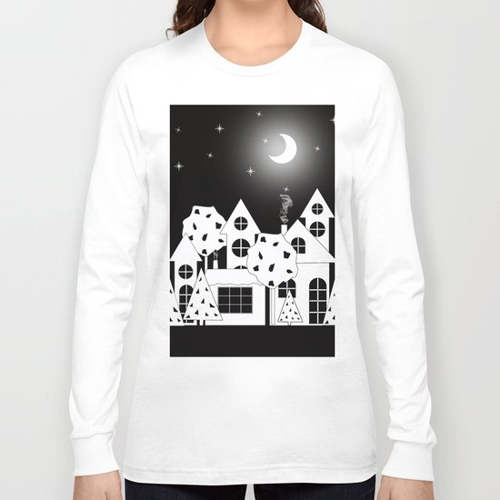 Fabulous houses, trees against the night sky. Long Sleeve T-shirt