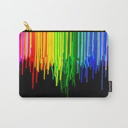 Rainbow Paint Drops on Black Carry-All Pouch