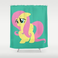 mlp Shower Curtains featuring Fluttershy by Adrian Mentus