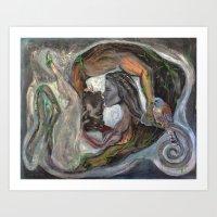 The Kiss (oil on canvas) Art Print