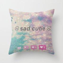 Sad cutie Throw Pillow