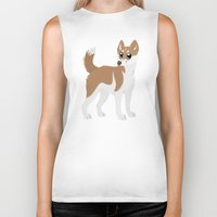 husky Biker Tanks featuring Red Husky by Sarah