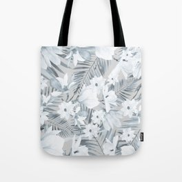 Black gray white magnolia tropical floral pattern Tote Bag