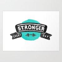 Stronger Every Day (dumbbell) Art Print