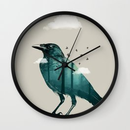 Teal Raven Wall Clock