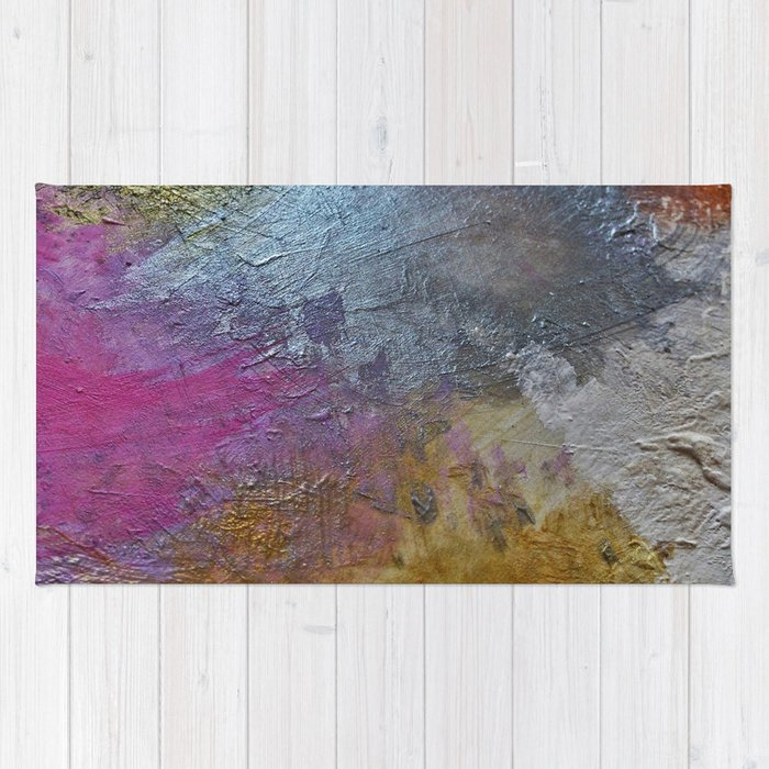Gold Silver Rose Pink Abstract Painting Rug