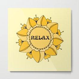 Relax Nouveau Golden Sun Mandala Metal Print