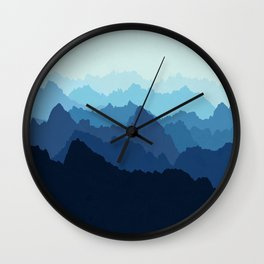 Mountains in Blue Fog Wall Clock