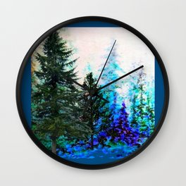 TEAL COLOR  MOUNTAIN  PINE FOREST LANDSCAPE Wall Clock