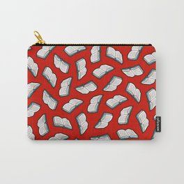 Bookish Reading Pattern in Red Carry-All Pouch