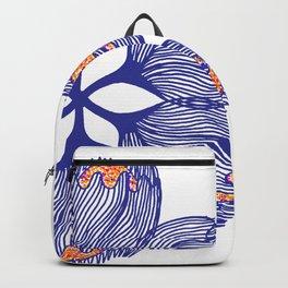 Blue spiral flower Backpack