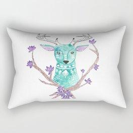 Floral Deer Rectangular Pillow