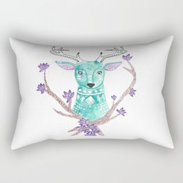 Floral Deer Rectangular Pillow