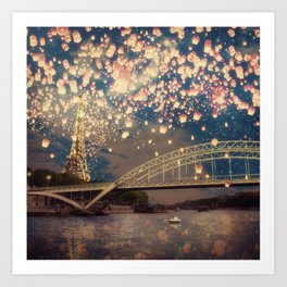 Love Wish Lanterns over Paris Art Print
