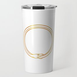 The symbol of Ouroboros snake in gold colors Travel Mug