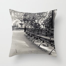 On a Park Bench At City Hall Throw Pillow