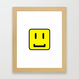 SQUARE SMILEY FACE CLASSIC YELLOW W/ BLACK Framed Art Print