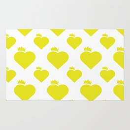 Crown Heart Pattern Yellow Rug