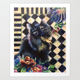 Cat Portrait in the Style of Mackenzie-Childs Art Print