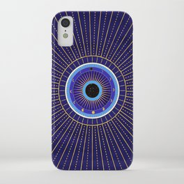 Cobalt Blue Evil Eye Mandala  with Moon Phases iPhone Case