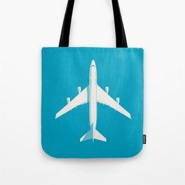 747-400 Jumbo Jet Airliner Aircraft - Cyan Tote Bag