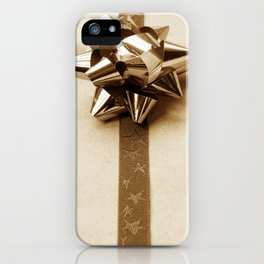 Gift Wrapped Vintage Bow and Ribbon on Plain Paper iPhone Case