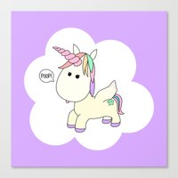 poop Canvas Prints featuring Unicorn Poop by Stephanie Keyes Design