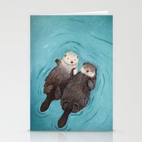 pun Stationery Cards featuring Otterly Romantic - Otters Holding Hands by When Guinea Pigs Fly