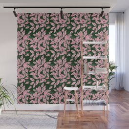 Pink and Green Indoor Plant Print Pattern for Fashion and Home Decoration. Wall Mural