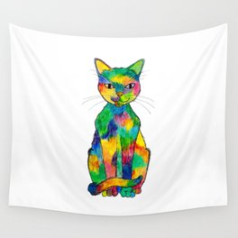 Rainbow Cat Wall Tapestry