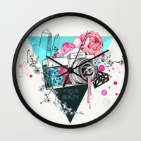 kpop Wall Clocks featuring Focus on beauty by Ariana Perez