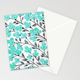Cherry Blossoms – Turquoise & Black Palette Stationery Cards