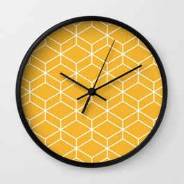 Geometric Honeycomb Lattice 2 in White and Mustard Yellow Wall Clock