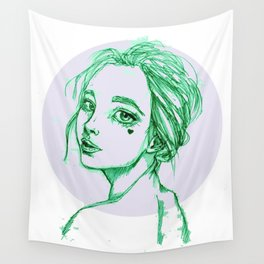 Green Girl in a Grey Circle Wall Tapestry