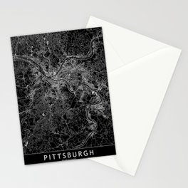 Pittsburgh Black Map Stationery Cards