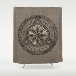 The Helm of Awe - Beige Leather and gold Shower Curtain