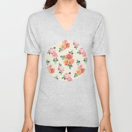 Retro Peach and Pink Roses Unisex V-Neck