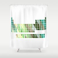 periodic table Shower Curtains featuring Periodic Table, Pixilated Color Blocks by kltj11