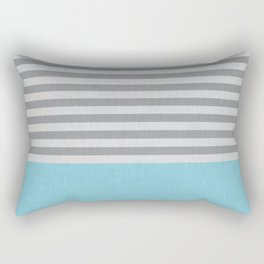 Blue and gray stripes and color block Rectangular Pillow