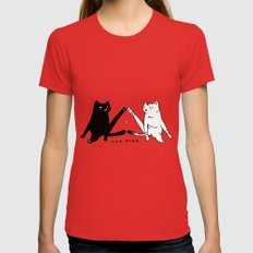cat yoga Womens Fitted Tee MEDIUM Red